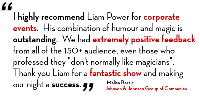 Magician Sydney - Liam Power Sydney Magician Event Testimonial/Review